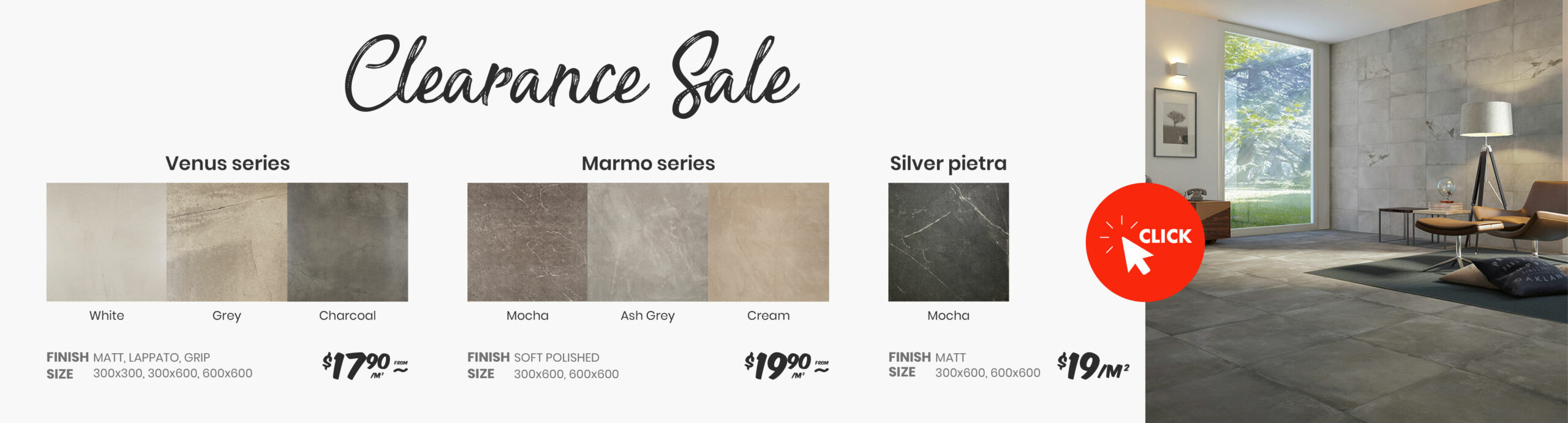 clearance tiles - venus series/marmo series/silver pietra